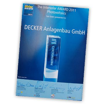 DECKER Anlagenbau erhält Intersolar AWARD 2011